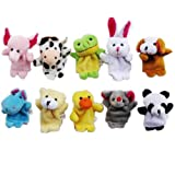 SODIAL(TM) 10pcs Velvet Animal Style Finger Puppets Set
