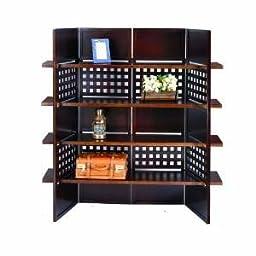 4-Panel Wooden Room Divider with Book Shelves (Espresso)