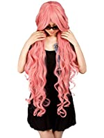 "Simplicity Lady's 40"" Long Big Spiral Curl Pink Cosplay Wig with Wig Cap"