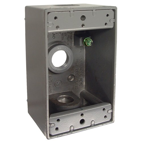 Hubbell Bell 5320-0 Single Gang 3-1/2-Inch Outlets Weatherproof Box, Gray
