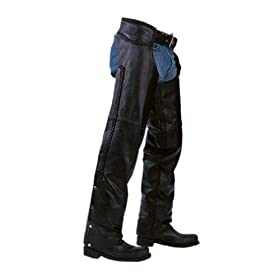 Unisex Braided Black Leather Biker Motorcycle Chaps New All Sizes (SMALL)