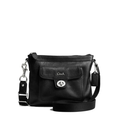 Coach Pebbled Leather Front Pocket Swing Pack CrossBody Bag 45012 Black