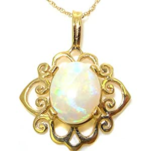 Luxury Womens Solid Yellow 9K Gold Ornate 9x7mm Natural Opal Pendant Necklace - Ideal for Christmas, Birthday, Anniversary or Mothers Day Gift
