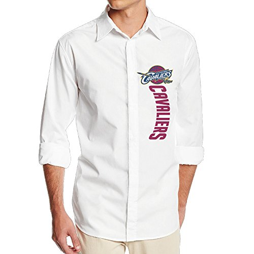 [FUOALF Mens Cleveland Cool Cavaliers Long Sleeve Button Down Collar Dress Shirt] (Raptor Costume Runescape)