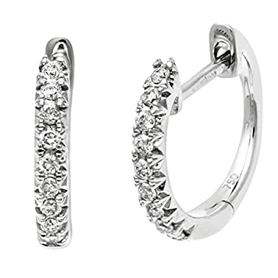 Ariel 18ct White Gold 0.18ct Diamond Filled Hoop Earrings