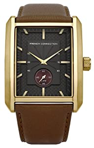 French Connection Men's Quartz Watch with Black Dial Analogue Display and Brown Leather Strap FC1112G