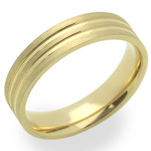 14K Yellow Gold 5MM Wedding Bands Lined Ring , Size 5.5