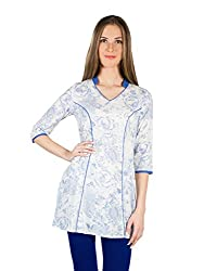 Panit Women's Cotton Kurta (PANI024_White_Large)