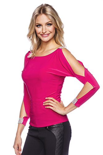 Party-Shirt Damen mit Strass Cutouts in Schwarz/Pink, S M L XL