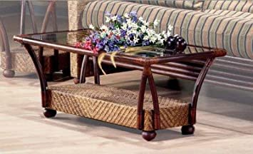 Casual Coffee Table In Wood & Rattan w Honey Glaze & Glass Top