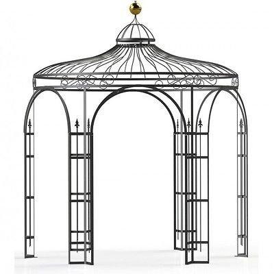 Pavillons-Garten-Pavillon-Metall-Pavillon-Pavillon-Stahl-Rankpavillon-Holland--350-cm-Eisenblank