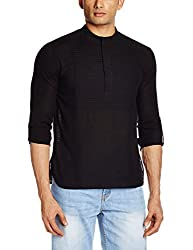 Veda Men's Mid-Thigh Cotton Kurta (sk-663_Medium_Black)