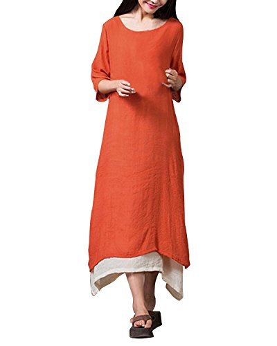 ZANZEA Ladies Cotton Linen A-line Split Hem Baggy Long Maxi Dress (US 12, Half Sleeve Orange)