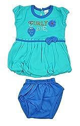 kandyfloss Baby Girls' Cotton Clothing Set (MRHKF-GREEN-FROCK-57--0-3 Months, Green, 0-3 Months)