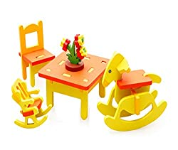 Cute Kids Colorful Play House Toys Set Wooden Assembling Furniture Toys
