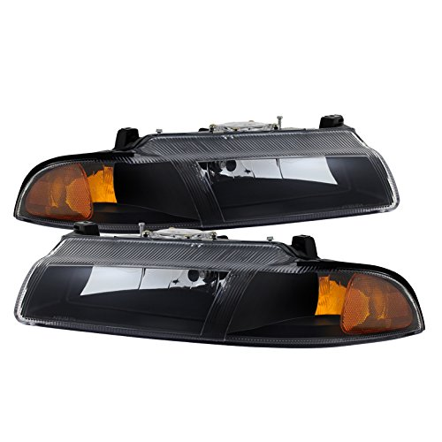 Plymouth Breeze/Dodge Stratus /Chrysler Cirrus Crystal Headlights Black Housing With Clear Lens (Plymouth Breeze Headlight compare prices)