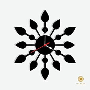 Buy Leaf Circle Silhouette Wall Clock Design Online At Low