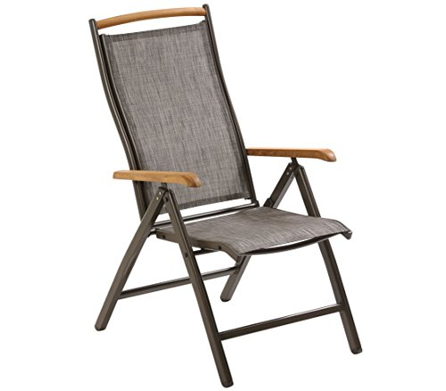 Gris Dehner Klappsessel Chicago 110 x 63.5 x 67.5 cm Grau Sill/ón Plegable ca Textilene//Aluminium