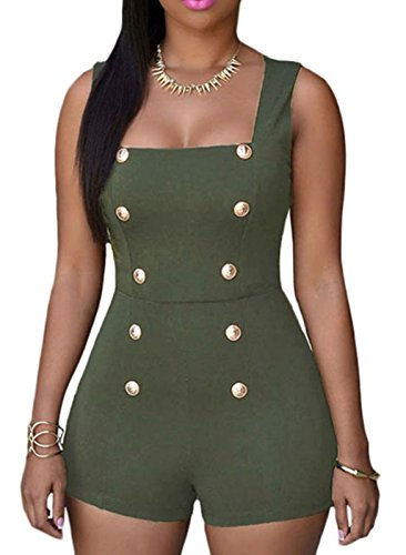 booty-gal-womens-sexy-gold-buttons-casual-loose-romper-playsuit-jumpsuitssize-s-green