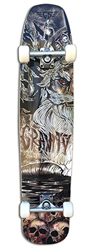 "Gravity 101,60 cm (40"") Brad Edwards Beach-Tavola da Longboard, motivo: teschio"