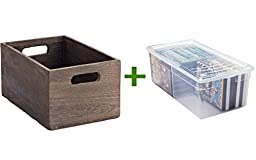 X-Small Feathergrain Wood Bin, Media Box Clear