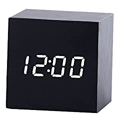 COFFLED Wooden Digital Alarm Clock with Low Light Sensor Technology Snooze LCD Display Backlight,Time/Tempreture Display Desk Clock