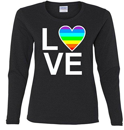 Gay Pride Love Heart Ladies Missy Fit long sleeve T-Shirt