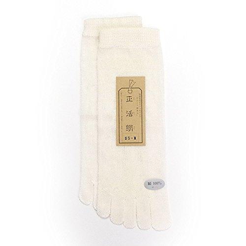 (正活絹) 絹5本指靴下 冷えとり靴下 シルク 100% 日本製 M