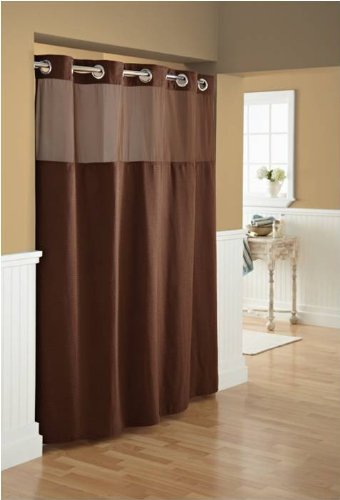 Detail Shop Hookless Fabric Diamond Pique Shower Curtain With Snap In Liner Brown