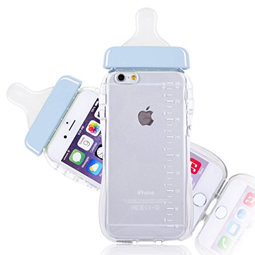 iPhone 6 Case , Cute Feeding Bottle Soft Gel Case for iPhone 6 4.7 inch + Free Screen Protector + SwiftBox Handmade Owl Phone Strap (Blue / 6 / 6s) (Feeding Bottle Case compare prices)