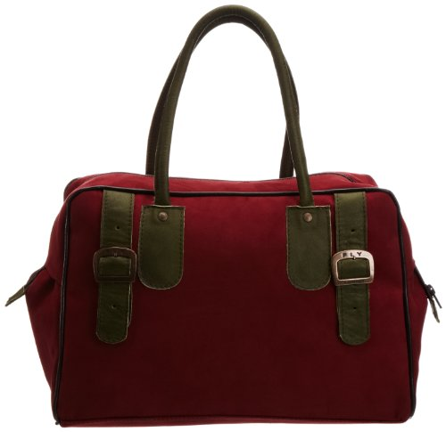 Fly London Womens Bala Bowling Bag Bordeaux/Grass P974403005