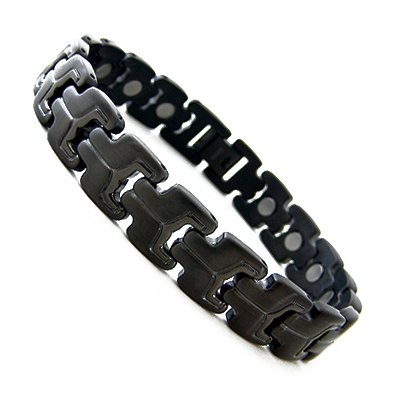 Men's Gun Metal Magnetic Titanium Golf Bracelet T21 8.5″