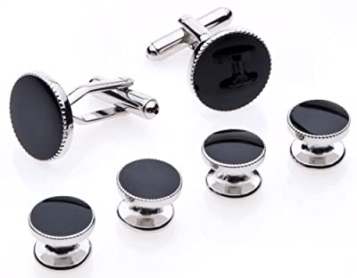 Cufflinks and Studs Set for Tuxedo - Formal Black with Shiny Silver Trimming by Men's Collections