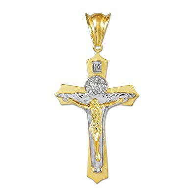 14k Two-Tone White and Yellow Gold Jesus Christ the Redeemer Cross INRI Crucifix Necklace Pendant