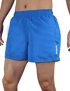 Reebok Mens High Performance Athletic Sports Shorts with Brief Lining S Blue