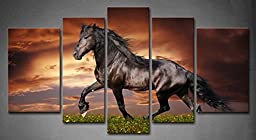 Canval prit painting Animal Wall Art Black Friesian Running Horse Trot on the Field on Sunset Grass and Flower 5 Panels Picture on Canvas