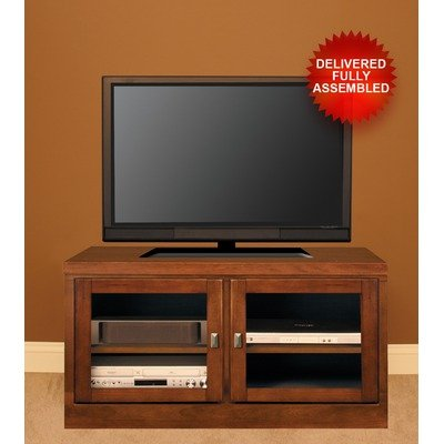 Cheap 48″ TV Stand with Contemporary Handles in Cherry Doors: Frosted Tempered Glass (60348CF0)