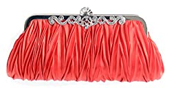 Womens Vintage Satin Pleated Envelope Evening Cocktail Wedding Party Handbag Clutch - Elf of Bolsas (17 Colors) (Sexy Red)