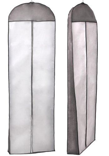 KXSHOP KXB105 - Telo traspirante per abiti da sposa e da sera, gonne, vestiti, abiti da uomo, cappotti, giacche, pantaloni e abiti lunghi 70'', lunga zip, colore: Caffè/ Bianco con lati neri/Nero