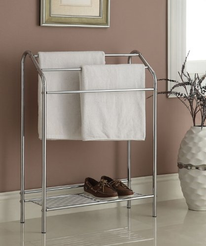 Chrome Finish Towel Bathroom Rack Stand Shelf (Floor Standing Towel Rack compare prices)
