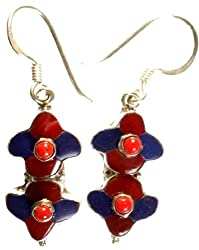 Exotic India Inlay Nepalese Earrings with Coral - Sterling Silver