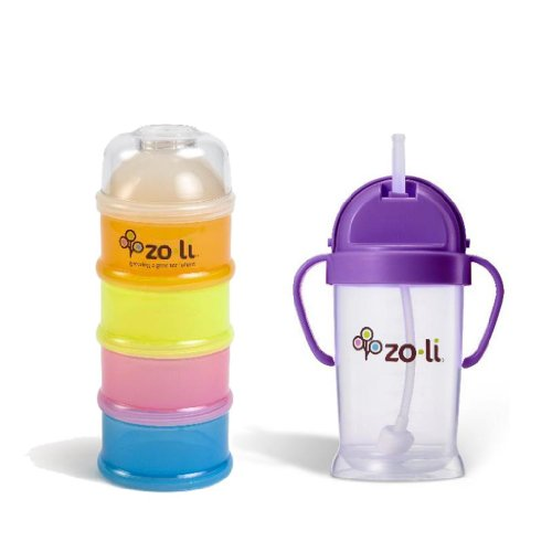 Zoli Baby On-the-Go Formula & Snack Dispenser with Bot Sippy Cup, Purple - 1