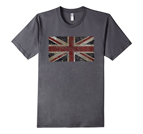 Men's British Flag | Distressed Vintage Style UK Flag T-Shirt Large Asphalt (British Flag Tshirts compare prices)