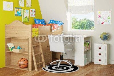 """Alu-Dibond-Bild 50 x 30 cm: """"Hochbett und Schreibtisch im Kinderzimmer"""", Bild auf Alu-Dibond online bestellen"""