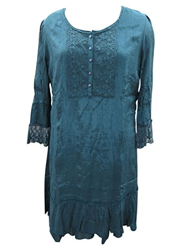 Womens Tunic Dress Lace Edging Hippy Chic Blue Vintage Style Dresses