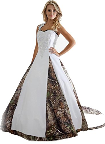 9ce79d20f48 Bridalonline Women s Camo Appliques Ball Gown Bridal Wedding Dresses White and  Camouflage Ivory and Camouflage 16