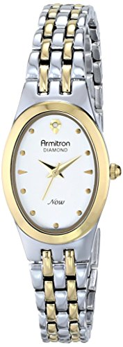 Armitron Women's 75/5196SVTT Diamond-Accented Dial Two-Tone Oval Shaped Bracelet Watch