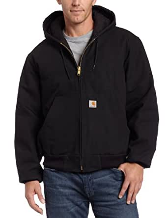 Carhartt Men's Big & Tall Quilted Flannel Lined Duck Active Jacket J140,Black,Medium Tall