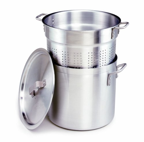 Crestware 12-Quart, 3-Piece Aluminum Pasta Cooker with Pot, Perforated Insert and Pan Cover