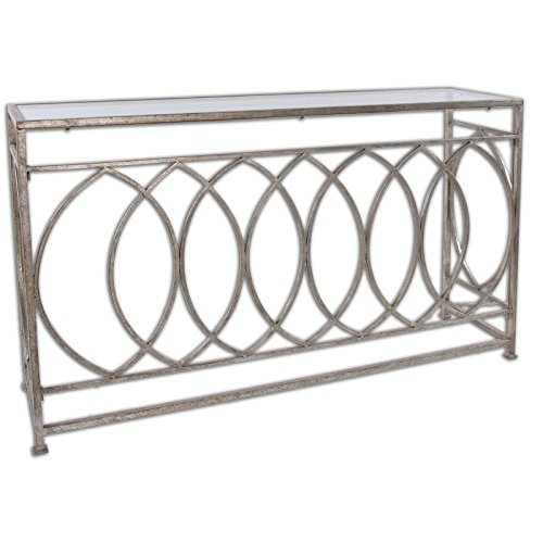 Unique High-Style Design Uttermost Aniya Metal & Glass Top Console Table